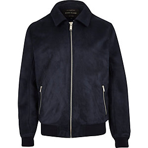 Navy faux suede zip-up jacket