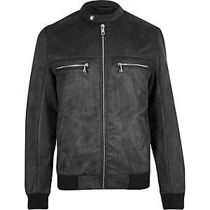 Grey faux suede racer jacket