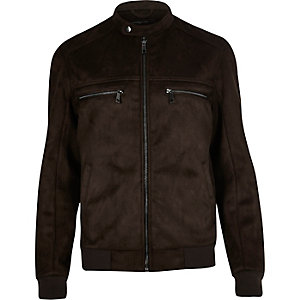 Dark brown faux suede racer jacket