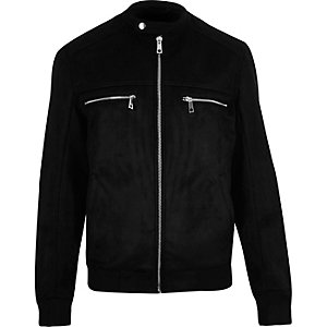 Black faux suede racer jacket