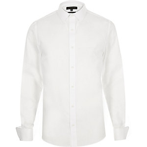 White double cuff slim fit shirt