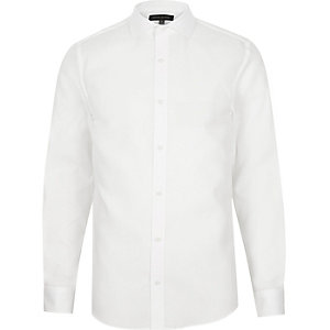 White semi cutaway slim fit shirt