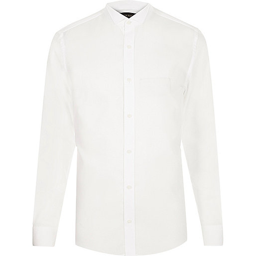 White wing collar slim fit shirt