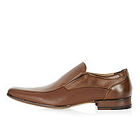 Brown perforated slip on shoes