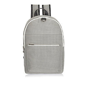 Grey textured zip backpack