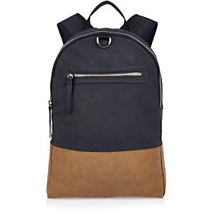 Navy rubber block panel backpack