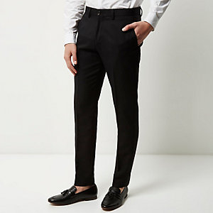 Black twill slim pants