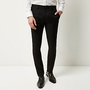 Black heavy twill slim pants