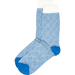 Blue geometric tile socks