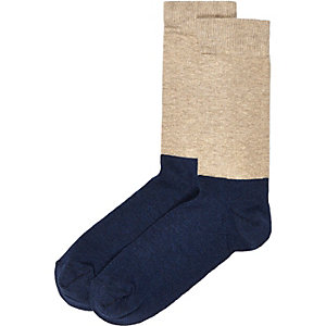 Navy ecru block socks