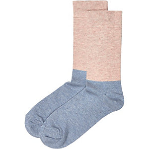 Blue pink block socks
