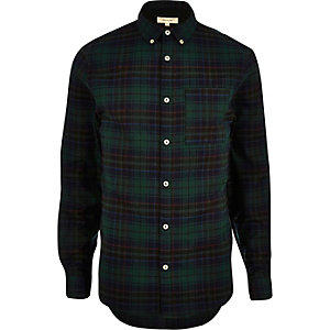 Green casual flannel check shirt