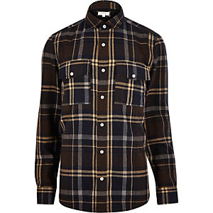 Rust brown check flannel shirt