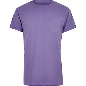Purple plain chest pocket T-shirt