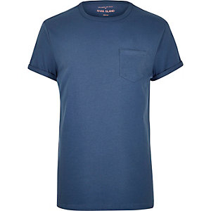 Blue plain chest pocket T-shirt