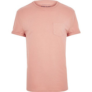 Salmon pink plain chest pocket t-shirt