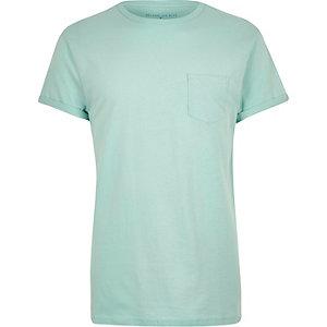 Light green plain chest pocket t-shirt
