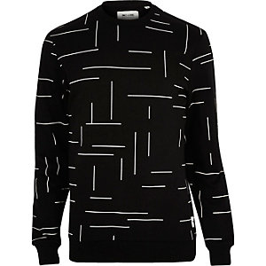 Black Only & Sons line print sweatshirt