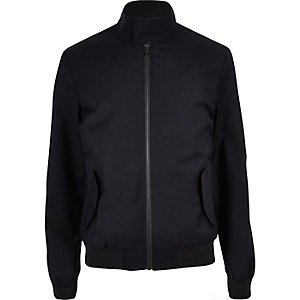 Navy high neck harrington jacket