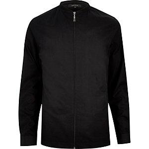 Black slim bomber baseball jacket