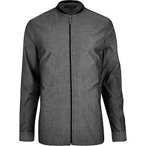 Grey bomber-style shirt