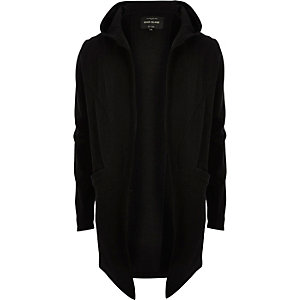 Black draped front hooded cardigan