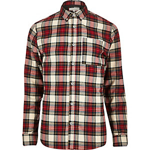 Red plaid check flannel shirt