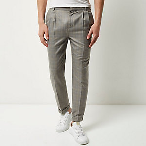 Grey checked slim cropped pants