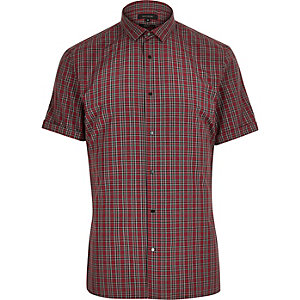 Red plaid slim fit shirt