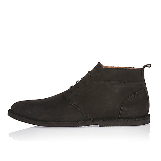 Black nubuck leather chukka boots