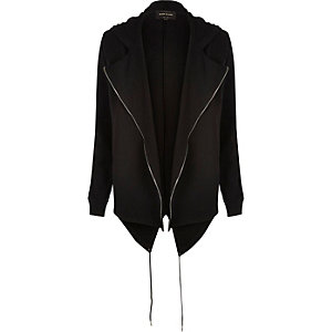 Black zipper edge hooded cardigan