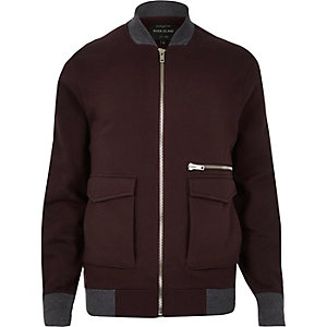 Dark red zip-up bomber jacket
