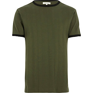 Dark green varied ribbed slim t-shirt