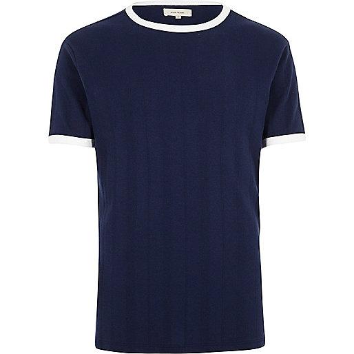 Blue slim fit ringer t-shirt