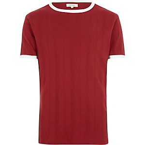Red varied ribbed slim t-shirt