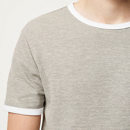 Grey marl waffle slim fit T-shirt