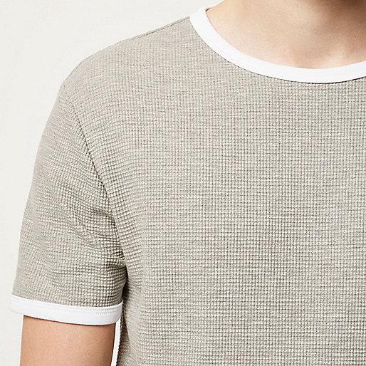 T-shirt gris chiné gaufré cintré