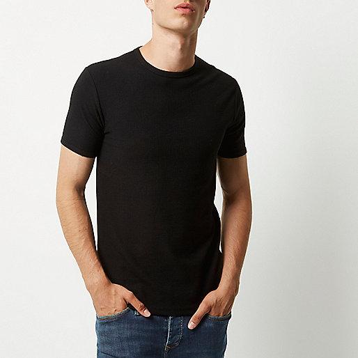 Schwarzes Slim Fit T-Shirt mit Waffle-Struktur