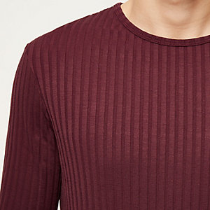Dark red chunky ribbed slim fit top
