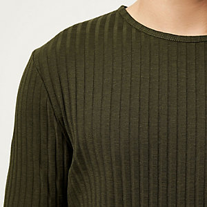 Khaki chunky ribbed slim fit sweater