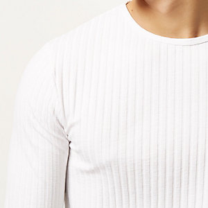 White chunky ribbed long sleeve top