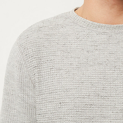 Grey textured waffle sweater