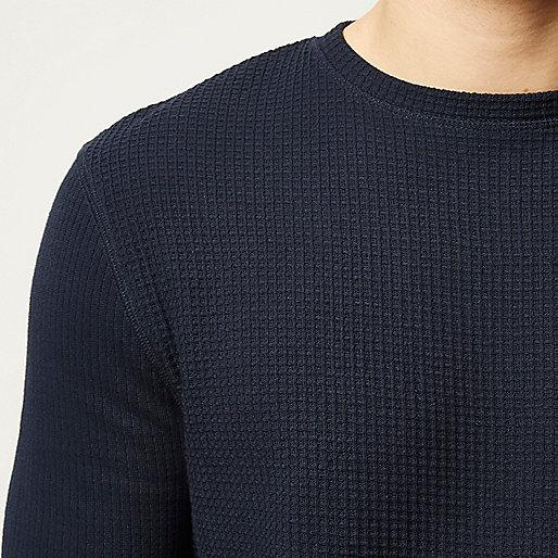 Navy textured waffle sweater