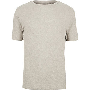 Grey marl essential rib T-shirt