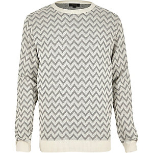Grey zig zag knitted sweater