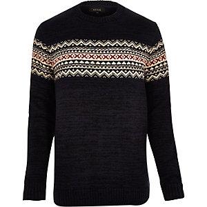 Navy knitted fairisle jumper