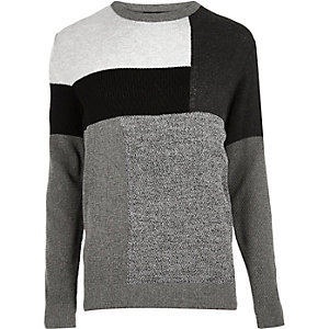Grey block panel sweater