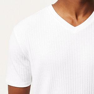 White ribbed slim fit V-neck t-shirt