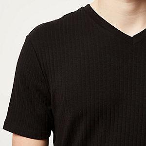 Black ribbed slim fit V-neck t-shirt