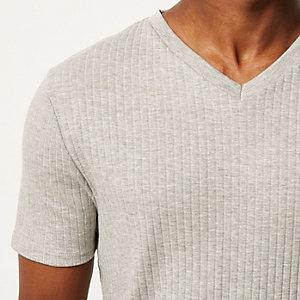 Grey ribbed slim fit V-neck t-shirt